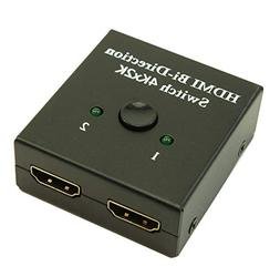 MyCableMart 2 in/1 Out HDMI Switch AUTO-Select,4K@30Mhz, HDC