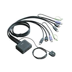 Elecom 2 Port PC Switch KVM for HDMI with Cables.