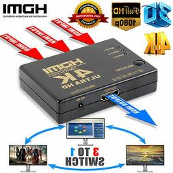 Ultra HD 3Port HDMI Switcher, 4Kx2K 1080P 3D Switch Selector