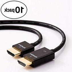 InstallerParts (10 Pack 1.5ft Ultra Thin High-Speed HDMI Cab