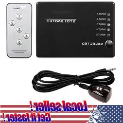 US 5 Port HDMI Splitter Switch Selector Switcher Hub IR Remo