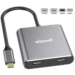 USB C to Dual HDMI 4K Adapter, Tuwejia Thounderbolt 3 to HDM